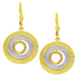 14 Karat Tri color Gold Graduated Open Discs Dangle Earrings Jewelry