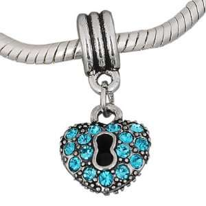 : Pandora Style Antique Silver Plated KEY to My HEART Blue Stone Bead