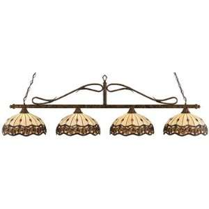 Toltec Pool Table Light Bronze Wrought Iron 16 Roman Jewel Tiffany