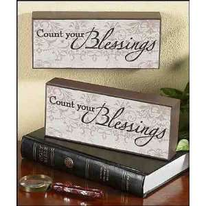 Count Your Blessings Wood Block Plaque Gift of Faith