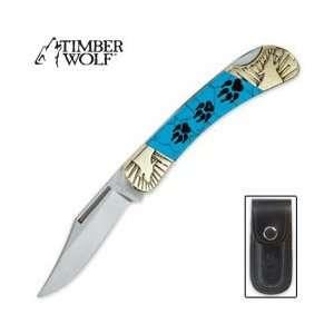 Timber Wolf Tracks Lockback Folding Knife: Sports