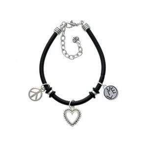 Live in Circle   Two Sided   Black Peace Love Charm Bracelet [Jewelry]