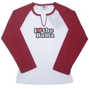 Alabama Crimson Tide White Ladies I Heart 3/4 Sleeve T