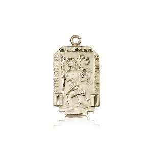 14kt Gold St. Saint Christopher Medal 1 x 5/8 Inches 4209KT No Chain