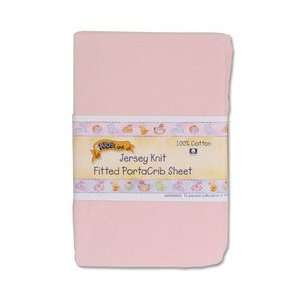 Kids Line Jersey Knit Fitted Porta Crib Sheet   Pink Baby
