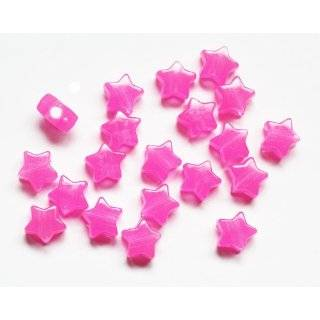 Planet Pink Nightglow Glow in the Dark 13mm Star Beads Pony Beads