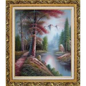 Snow Mountain Oil Painting, with Ornate Antique Dark Gold Wood Frame