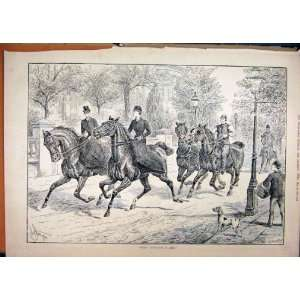 Men Woman Riding Horses 1887 Street Scene Dog Old Print