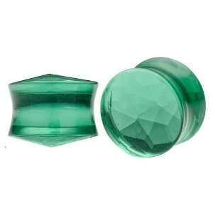 1/2 (12mm)   Pair of Deep Green Glass Double Flared