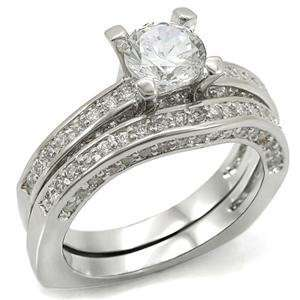 Size 10 Wedding Set Clear Cubic Zirconia Brass Rhodium