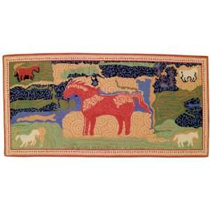Dreams of Horses Petit Point Hooked Rug