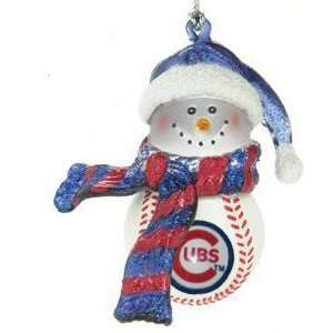 Chicago Cubs Home Run Snow Man Ornament by SC Christmas