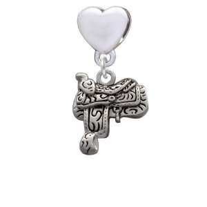 Saddle opean Heart Charm Dangle Bead [Jewelry]: Jewelry