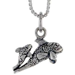 925 Sterling Silver Mother & Baby Fish Pendant (w/ 18 Silver Chain