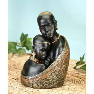 African Tribal Mother Embracing Daughter Statue Model