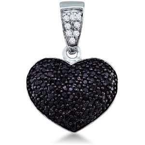 and White Diamond Round Cut Heart Shape Love Puff Pendant (.55 cttw