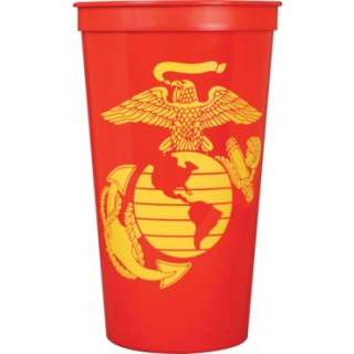 Red 32oz Plastic Stadium Cup with Yellow Eagle, Globe, and Anchor  Set