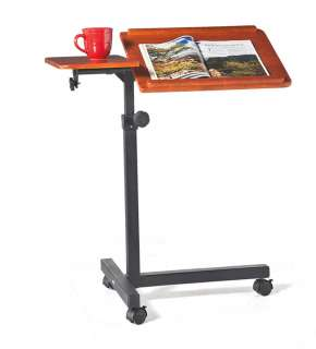 Rolling, Adjustable Wood Laptop Table Desk   Plow & Hearth