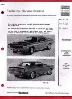 1970 PLYMOUTH AAR BARRACUDA 340 CID Engine Service Book