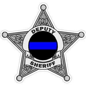 Point Deputy Sheriff Blue Line Badge   Decal