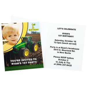 John Deere 1st Birthday Personalized Invitations, 67139