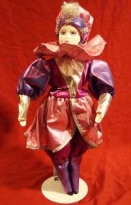 VINTAGE PORCELAIN PURPLE CLOWN DOLL, c. 1980s