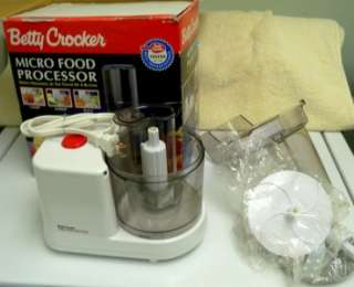BETTY CROCKER MICRO MINI FOOD PROCESSOR CHOP SHRED SLICE IN BOX