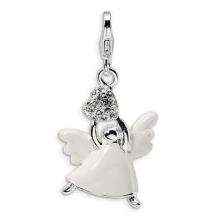 Sterling Silver Enameled Swarovski Crystal Angel Charm