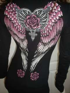 Western Rodeo Angel Wings Roses Rhinestones Tattoo Black Cowgirl Tee T