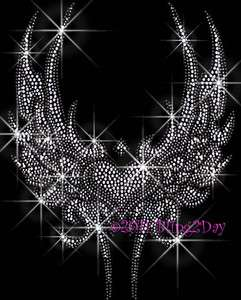 Angel Wings Silver Heart   Rhinestone Iron on Transfer Hot Fix Bling