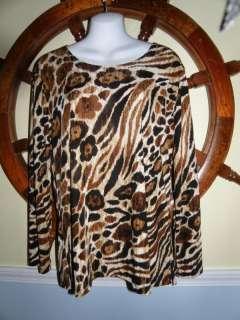 Jostar Brown Tan Animal Print Lngslv Cruisewear Top XL New Travel Knit