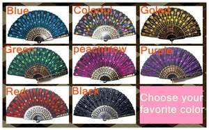 Black Lace Bead embroidery hand fans multicolour Folding Fans