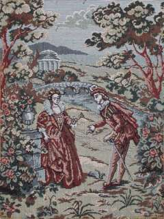 This miniature tapestry in the Victorian style shows a romantic scene
