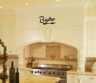 Bistro with a fork Kitchen Vinyl Wall Word Art Lettering Stickers Home