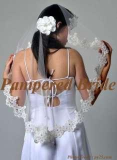 Mantilla bridal wedding veil 35x28 IVORY lace edge