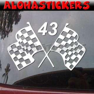 CUSTOM NUMBER RACE FLAGS Vinyl Decal Car Sticker V40