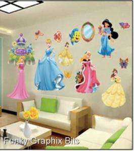 SIZE KIDS WALL STICKERS SELF ADHESIVE DIY DISNEY PRINCESS GIRL BEDROOM