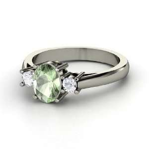 Ashley Ring, Oval Green Amethyst 14K White Gold Ring with