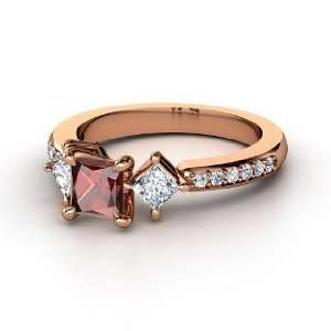 Caroline Ring, Princess Red Garnet 14K Rose Gold Ring with