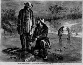 FISHING ICE FISHING FOR PICKEREL ANTIQUE 1868 ENGRAVING