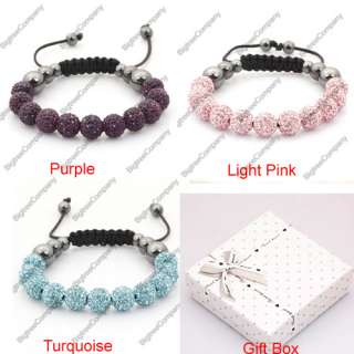 CZ Disco Ball Crystal Macrame Bracelets Pave Ball Friendship Bracelets