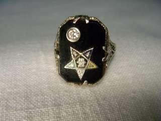 White Gold Diamond Onyx Masonic Mens Womens Eastern Star Ring