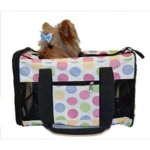 Dog Cat Multi Color Dot Pet Carrier Travel Bag Airline