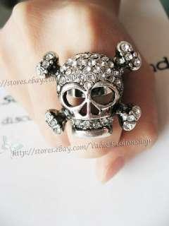 Womens Halloween Vintage Skull Crystal Rhinestone Punk Ring Silver