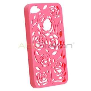 Hot Pink Carving Rose Flower Rear Hard Cover Case+Diamond Film for