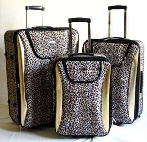 Luggage Set Travel Bag Rolling Upright Expandable Wheel Gold Leopard