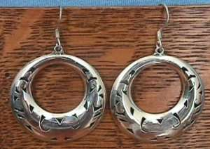 Sterling Silver 925 Large Round Mexico EARRINGS