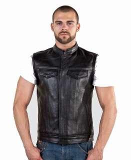Mens Motorcycle Biker Leather Vest Jacket w/ Pockets