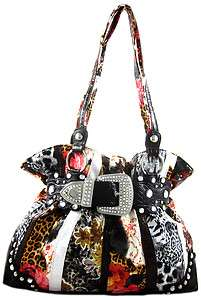Rhinestone Belt Buckle Flower Leopard Print Hobo Purse Handbag Red