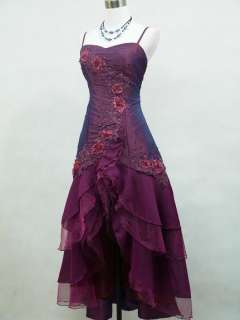 Cherlone Plus Size Satin Dark Purple Lace Prom Ball Gown Evening Dress